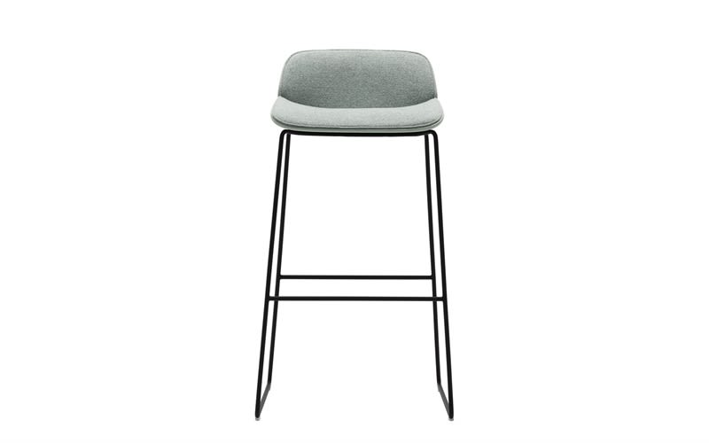 Nuez Sled Base Bar Stool with Seat and Backrest Cushion Andreu World  Jacquard One, Thermo-polymer finish 6012, Steel finish CRB by Andreu World