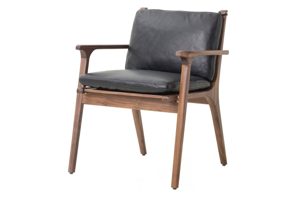 Walnut Stained Ash, Leather Caress Black, Leather C,Stellar Works,Armchairs