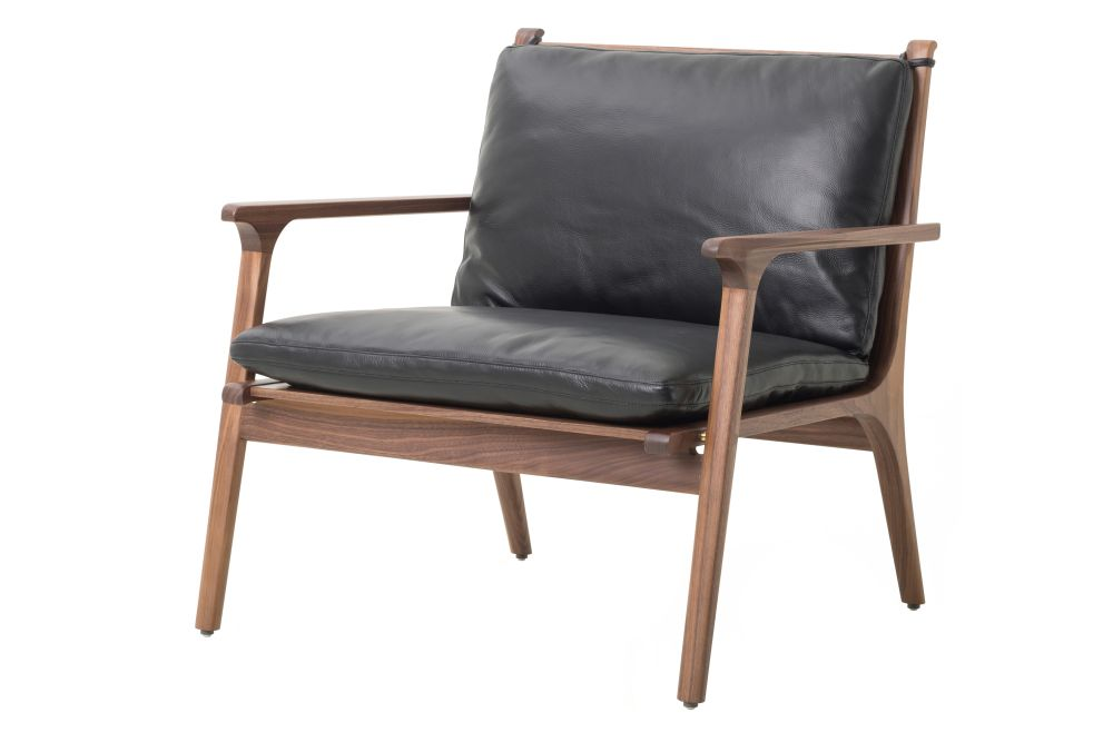 Walnut Stained Ash, Leather Caress Black, Leather C,Stellar Works,Lounge Chairs