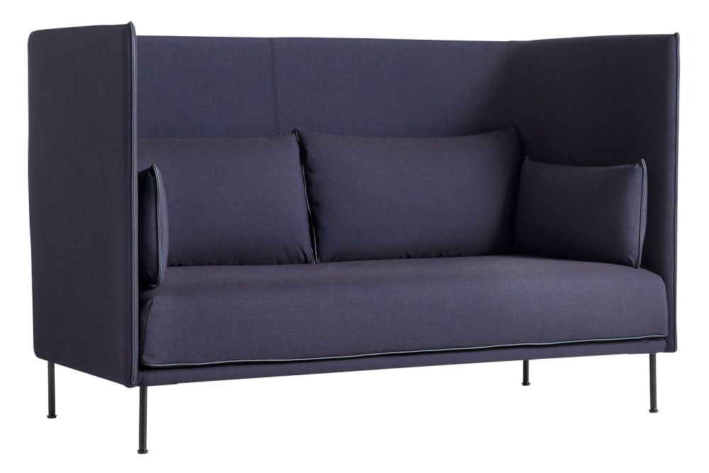 Silhouette High Backed 2 Seater Mono Sofa - Fabric Group 1, Leather Black,  Metal Black