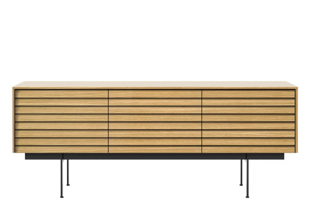 2 doors, 2 drawers, White Lacquered Oak, H29cm, Metal Black Textured,Punt,Cabinets & Sideboards