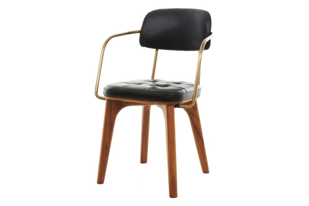 Caress Black Leather C, Walnut Stained Ash,Stellar Works,Armchairs