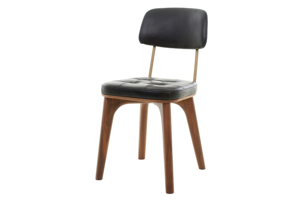 Caress Black Leather C, Walnut Stained Ash,Stellar Works,Dining Chairs