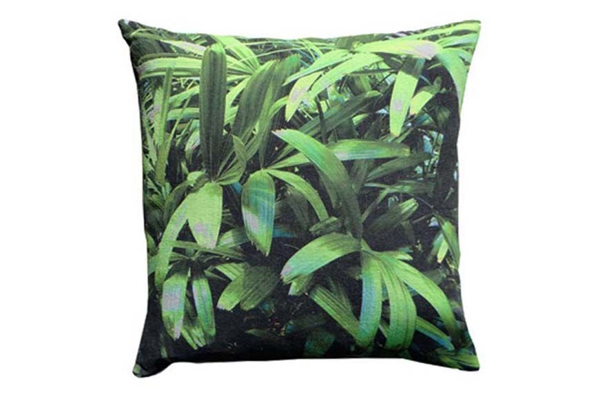 Zingy Palm Print Square Cushion by Suzanne Goodwin
