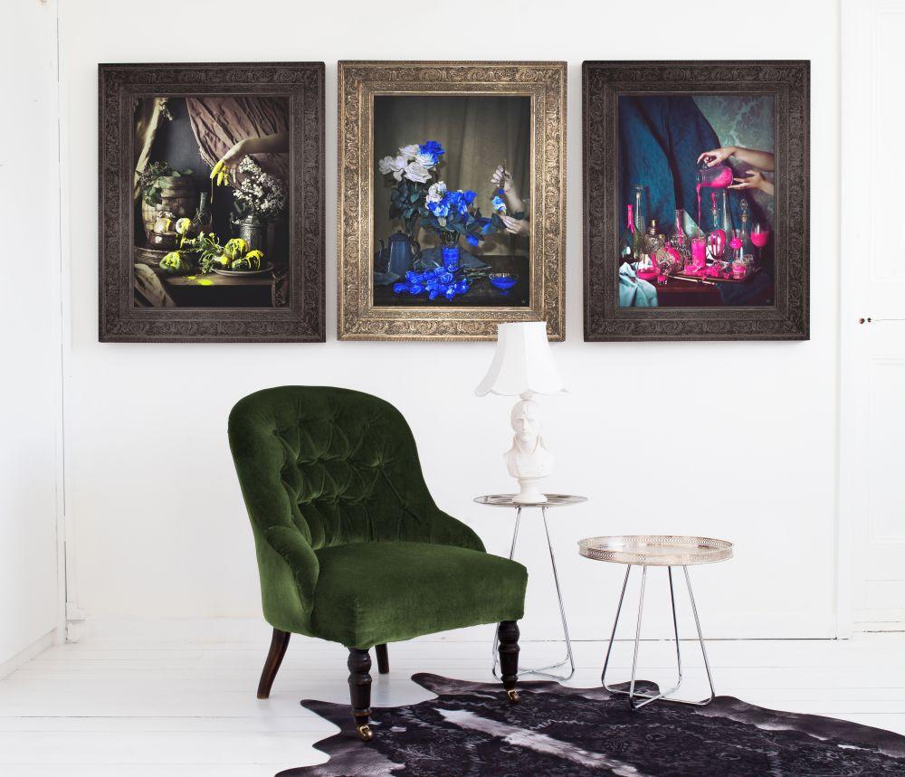 'Still Pink' Canvas,Mineheart,Prints & Artwork,art,chair,furniture,interior design,modern art,painting,picture frame,purple,room