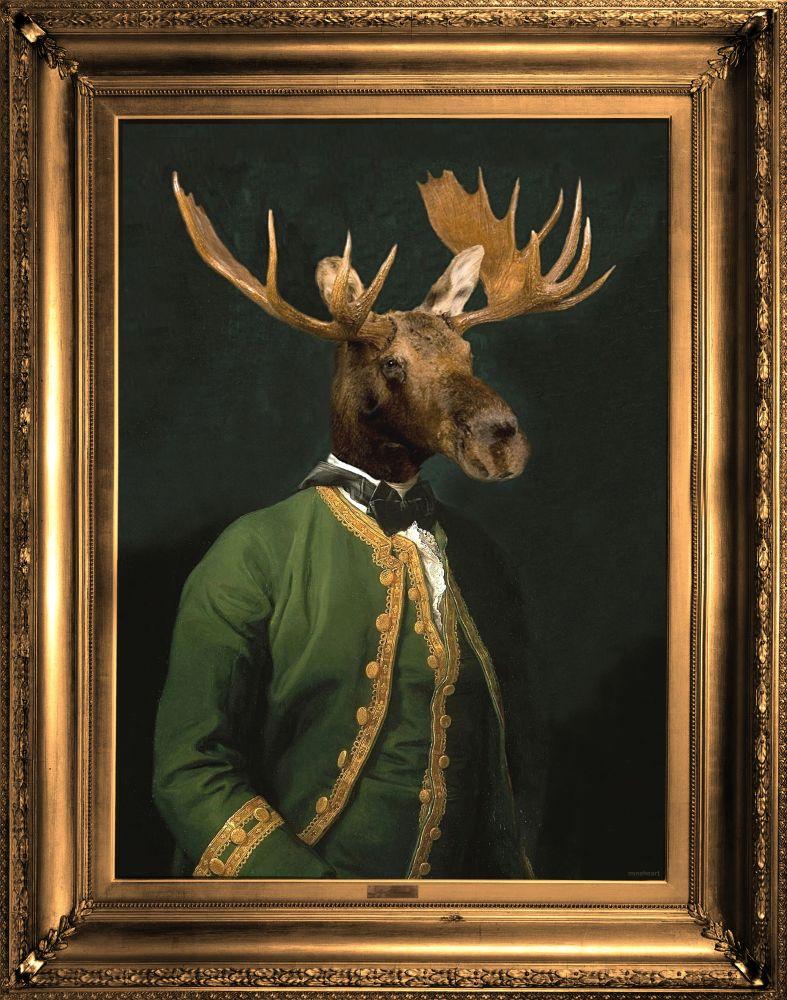 'Lord Montague' Canvas,Mineheart,Prints & Artwork,antler,deer,elk,picture frame,reindeer,wildlife