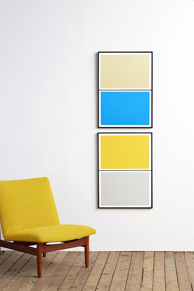 Twin Tone Play Screen Print - Smith Grey & Morning Yellow by Lane
