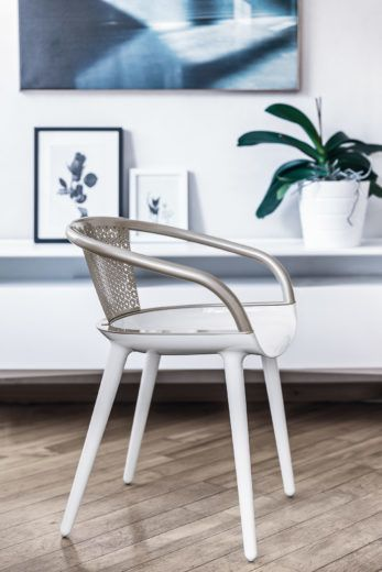White Seat, Beige Back,Magis Design,Armchairs,chair,desk,floor,furniture,interior design,product,room,table,white