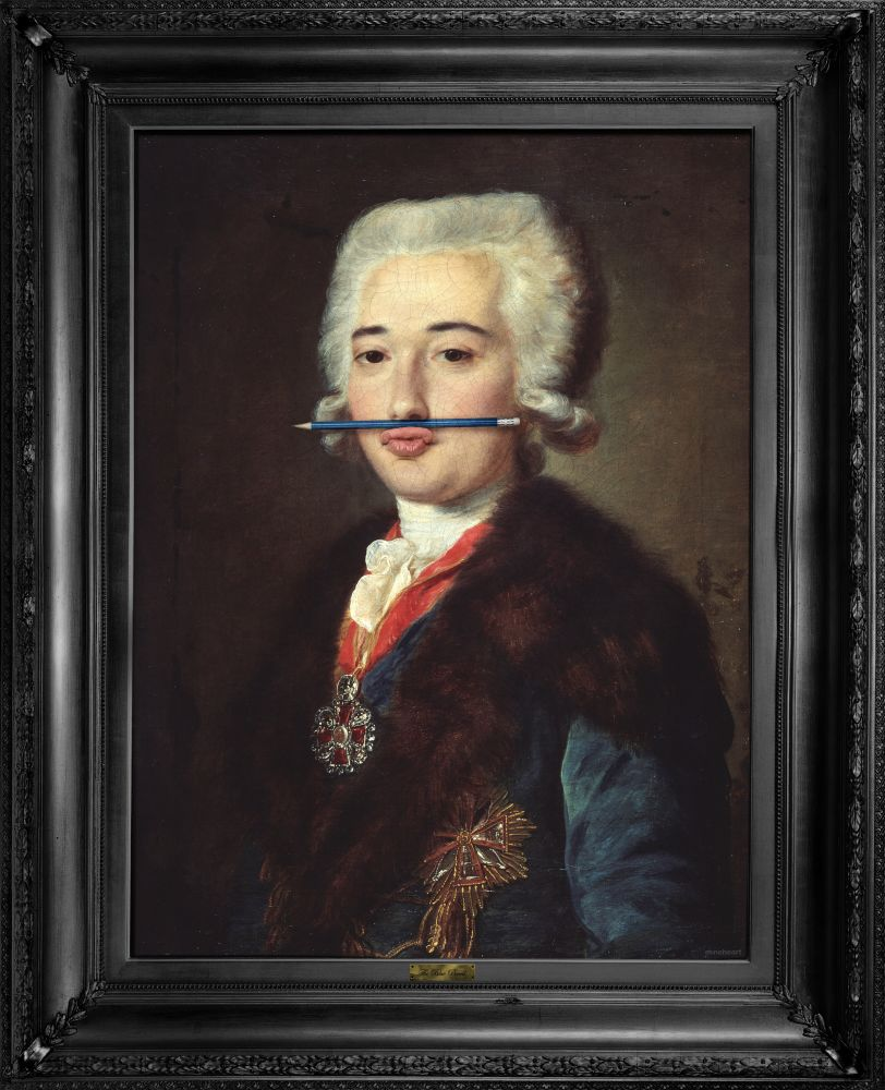 'The Blue Pencil' Canvas,Mineheart,Prints & Artwork,art,gentleman,lady,painting,picture frame,portrait,self-portrait