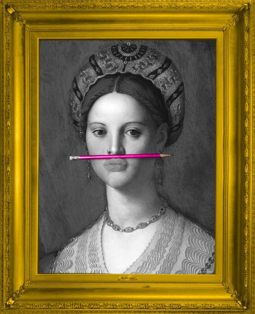 'The Pink Pencil' Canvas,Mineheart,Prints & Artwork,art,head,painting,picture frame,portrait,visual arts,yellow