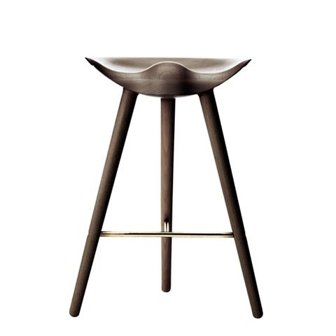 Black Stained Beech /Brass,by Lassen,Stools,bar stool,furniture,stool,table