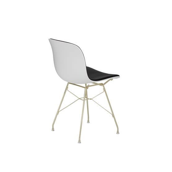 Gold Frame, White Seat, Steelcut Trio 2 190,Magis Design,Dining Chairs,chair,furniture,line