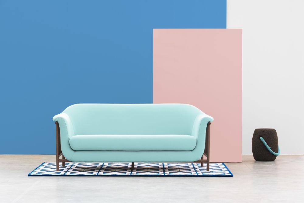Valentim sofa / Walnut + Obika Leather (Baby Blue)