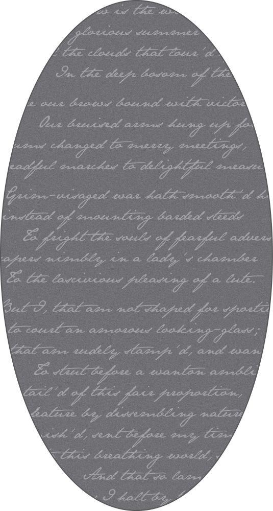 Richard III Oval Rug - Grey,Mineheart,Rugs,grey,rug
