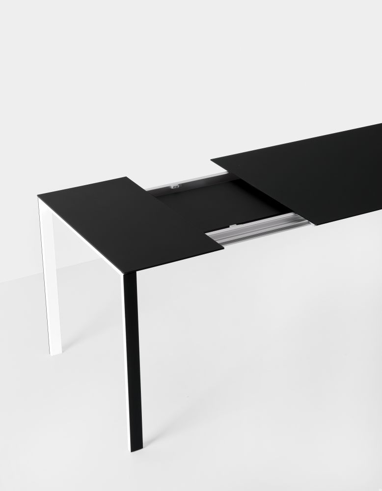 Grey Lacquer, Gloss glass extra white, 123-163-203 x 80,Kristalia,Tables & Desks,coffee table,design,desk,furniture,table