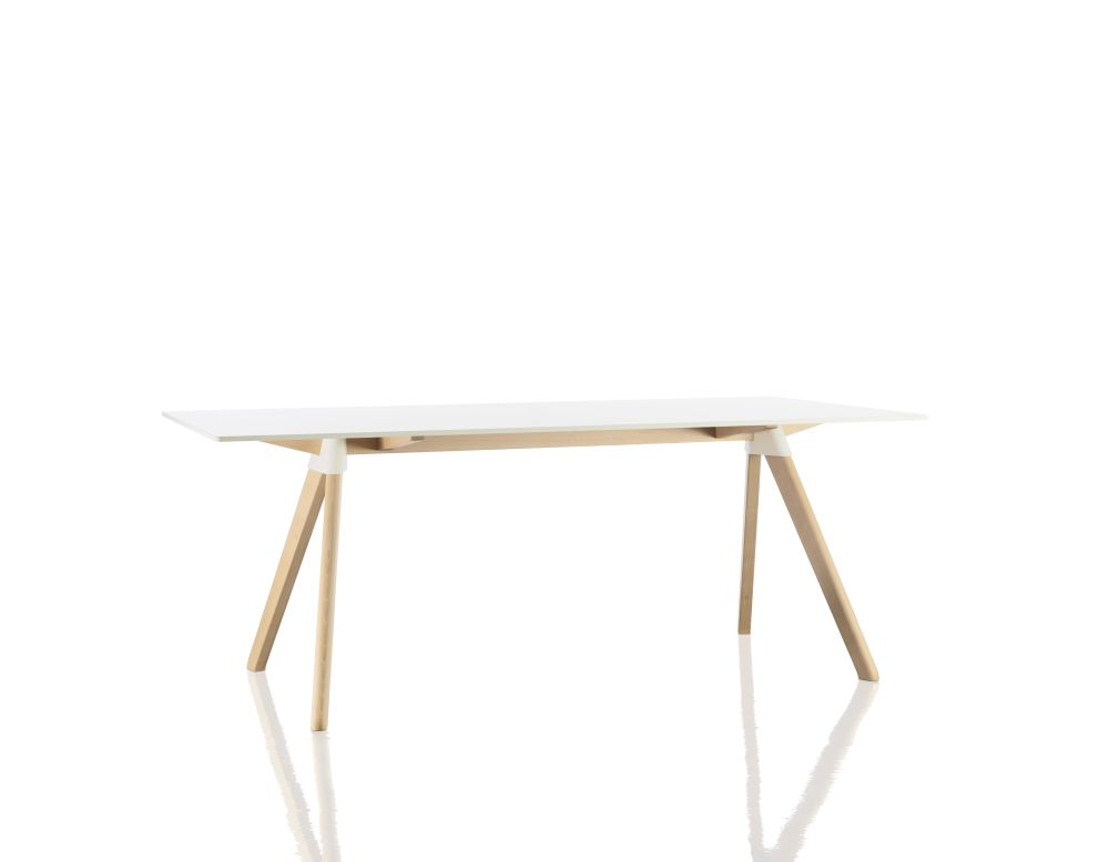 White, Natural Beech, 180cm,Magis Design,Dining Tables,desk,furniture,plywood,table
