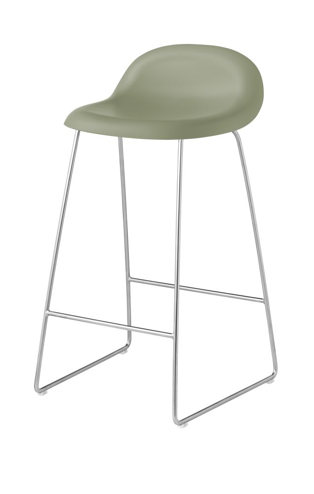 3D Counter Stool - Un-Upholstered, Sledge Base by Gubi