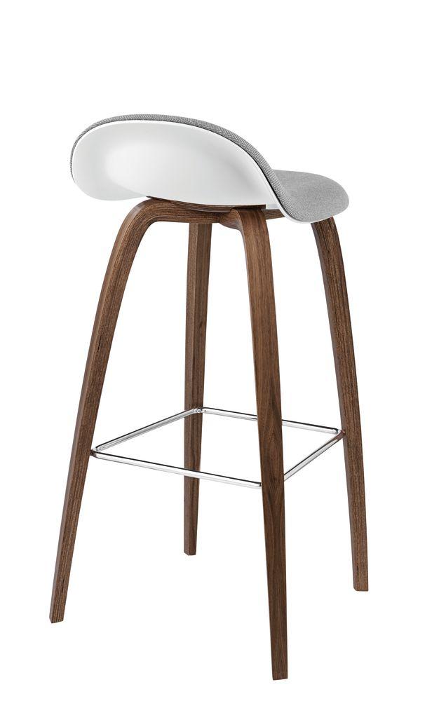 Gubi 3D Wood Base Bar Stool - Front Upholstered by Gubi