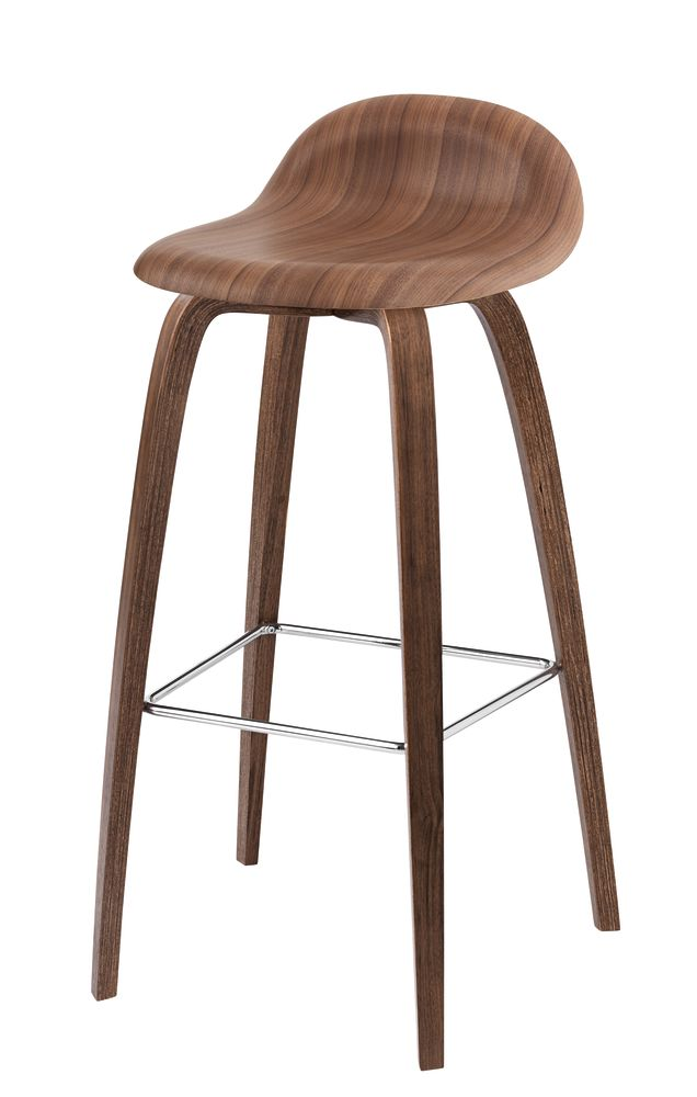 3D Counter Stool - Un-Upholstered, Wood Base by Gubi