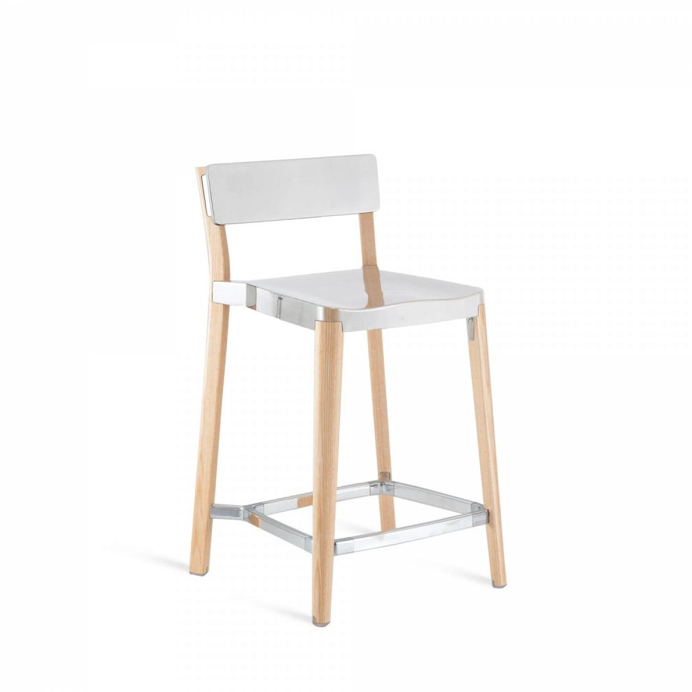 White, Light Wood Base, Off-white Seat Pad, Off-white Back Pad,Emeco,Stools,bar stool,chair,furniture