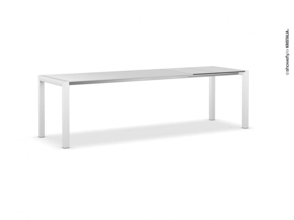 150-187-224, Anodised Aluminium, Gloss glass: Extra White, Alucompact white, Alucompact white,Kristalia,Tables & Desks
