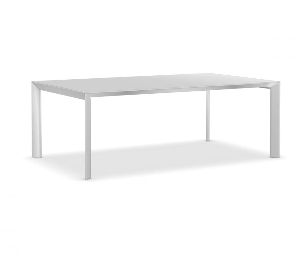 209 cm, Anodised Aluminium, Gloss glass: Extra White,Kristalia,Tables & Desks,coffee table,furniture,outdoor table,rectangle,sofa tables,table