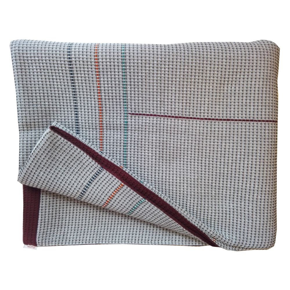 hand embroidered charcoal burgundy reverse throw,WAFFLE DESIGN ,Blankets & Throws,beige,brown,linens,rectangle,textile