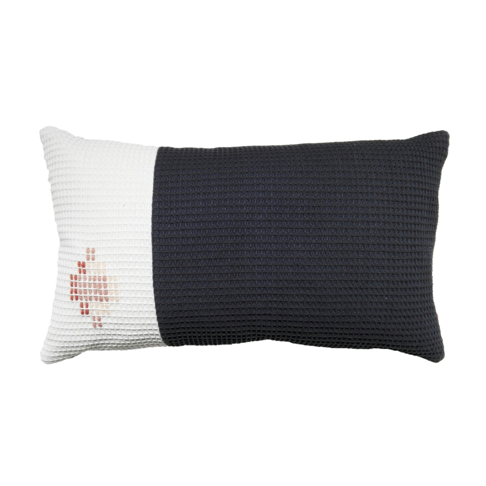 organic cotton hand embroidered navy white rectangle,WAFFLE DESIGN ,Cushions,beige,black,cushion,furniture,linens,pillow,rectangle,textile,throw pillow