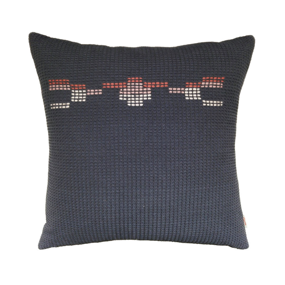 organic cotton hand embroidered navy coral square,WAFFLE DESIGN ,Cushions,black,brown,cushion,furniture,linens,maroon,orange,pattern,pillow,red,textile,throw pillow