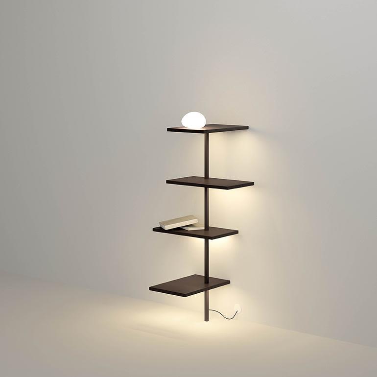 Matt chocolate lacquer,Vibia,Table Lamps,furniture,light fixture,lighting,shelf,shelving