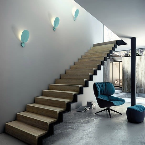 White,B.LUX,Wall Lights,architecture,design,floor,furniture,handrail,interior design,room,stairs,turquoise,wall