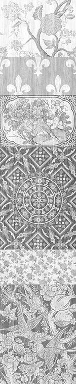 Arts and Crafts Patchwork Wallpaper Black and White Panel A,Mineheart,Wallpapers,design,pattern,stone carving,symmetry,visual arts
