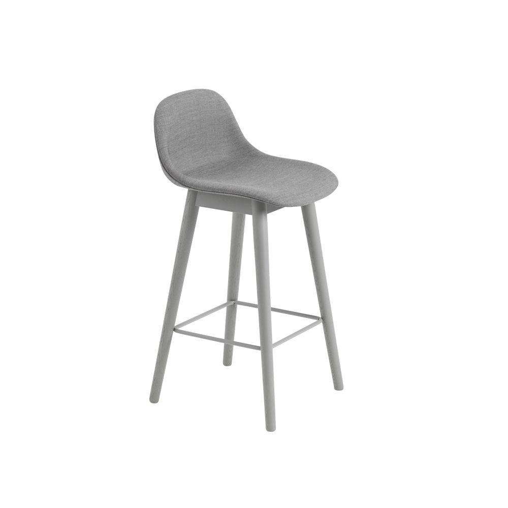 Fiber Bar Stool With Backrest Wood Base - Upholstered by Muuto