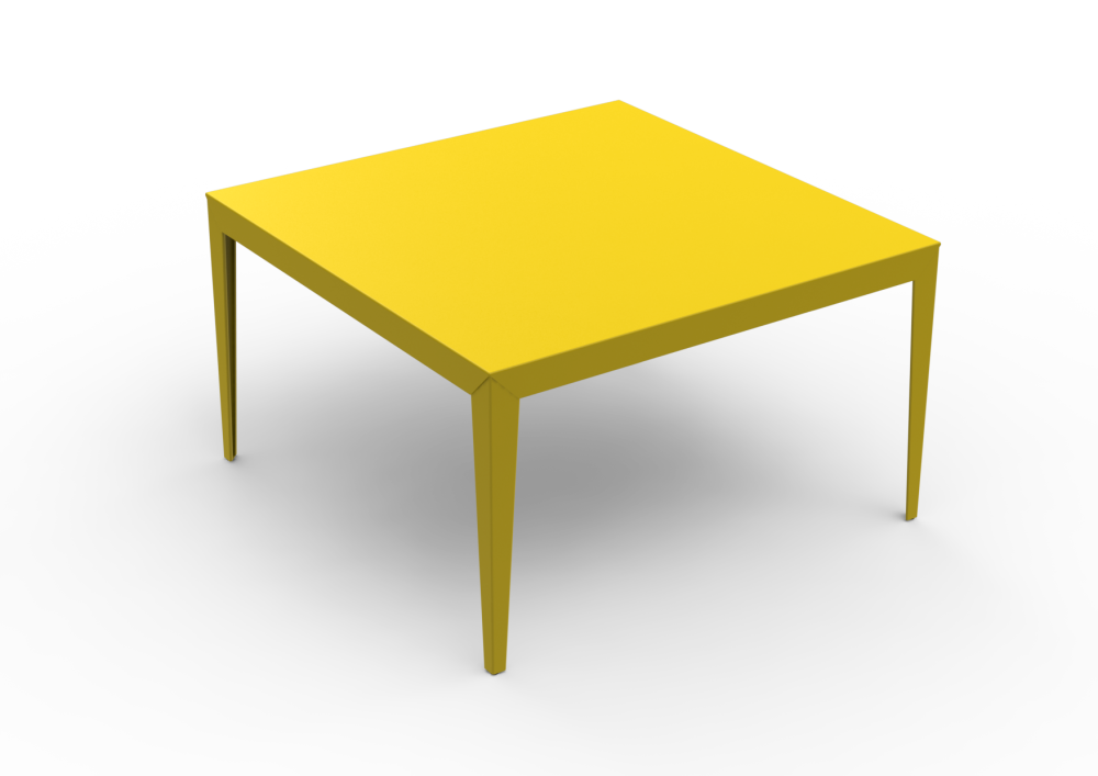 Tapered Legs, Gloss Varnish Steel - 20 RAL NA–RAW STEEL,Matière Grise,High Tables,coffee table,desk,end table,furniture,outdoor table,rectangle,table,yellow
