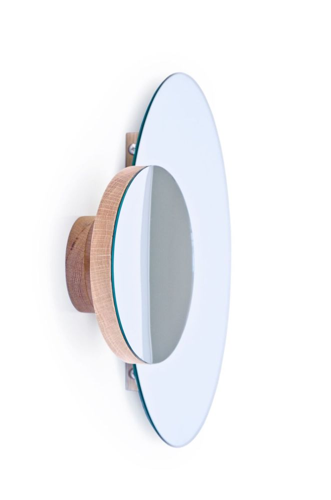 Wall mirror Eclipse - natural oak,Wireworks,Mirrors,beige,product,turquoise