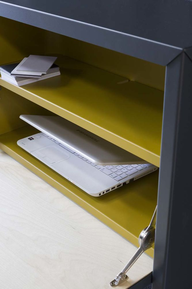 desk,furniture,material property,shelf,yellow