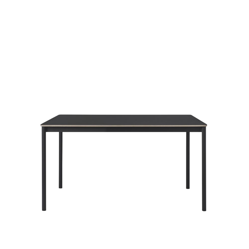 Black Laminate Top, Black ABS Edge, Black Base,Muuto,Dining Tables,coffee table,desk,furniture,line,outdoor table,rectangle,sofa tables,table