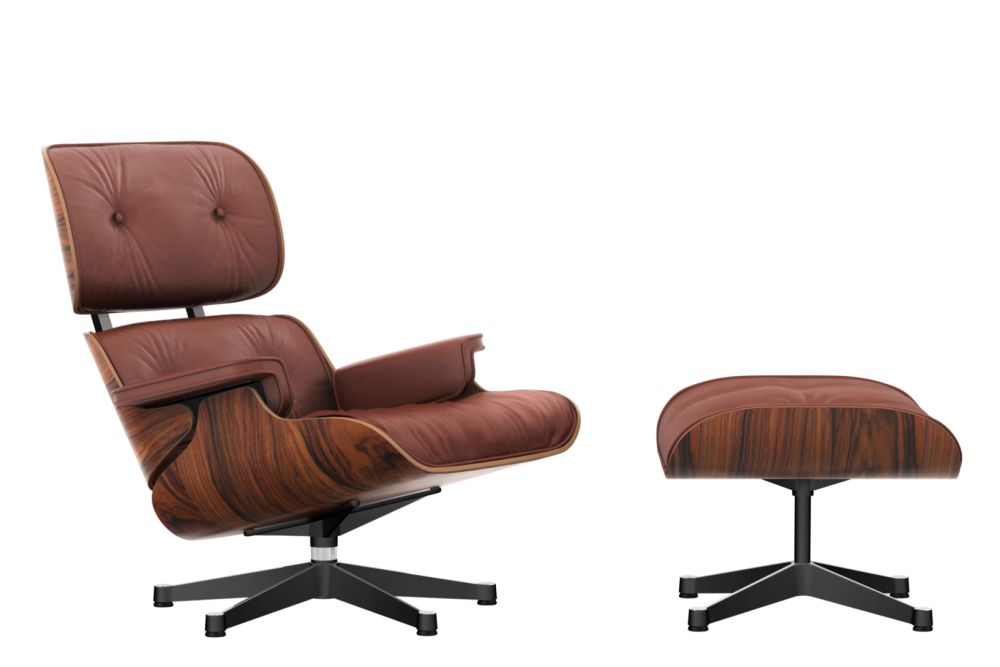 vitra eames lounge chair & ottoman - santos palisander shell leather