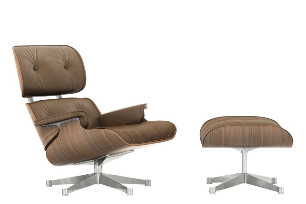vitra eames lounge chair & ottoman - white - pigmented walnut shell