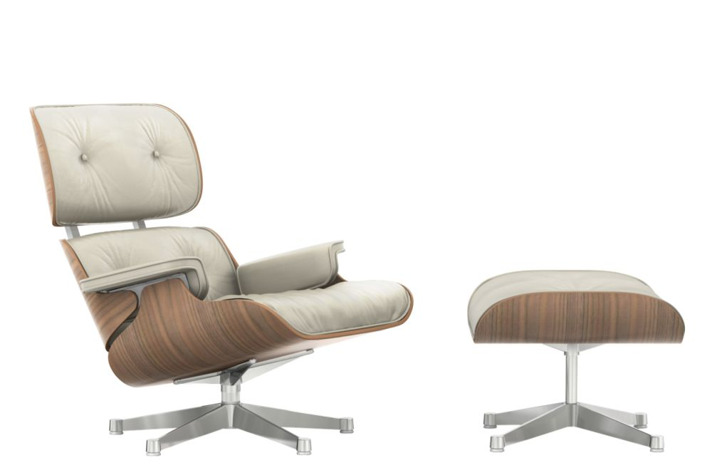 Vitra Eames Lounge Chair & Ottoman - White - Pigmented Walnut Shell by Vitra