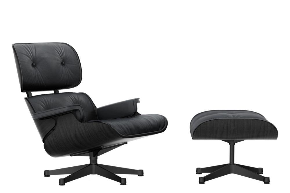 Vitra Eames Lounge Chair Ottoman Black Ash Shell Leather Premium