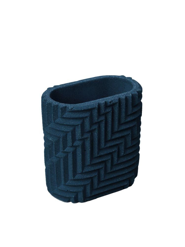 Herringbone Pen Pot - Dark Blue by Phil Cuttance