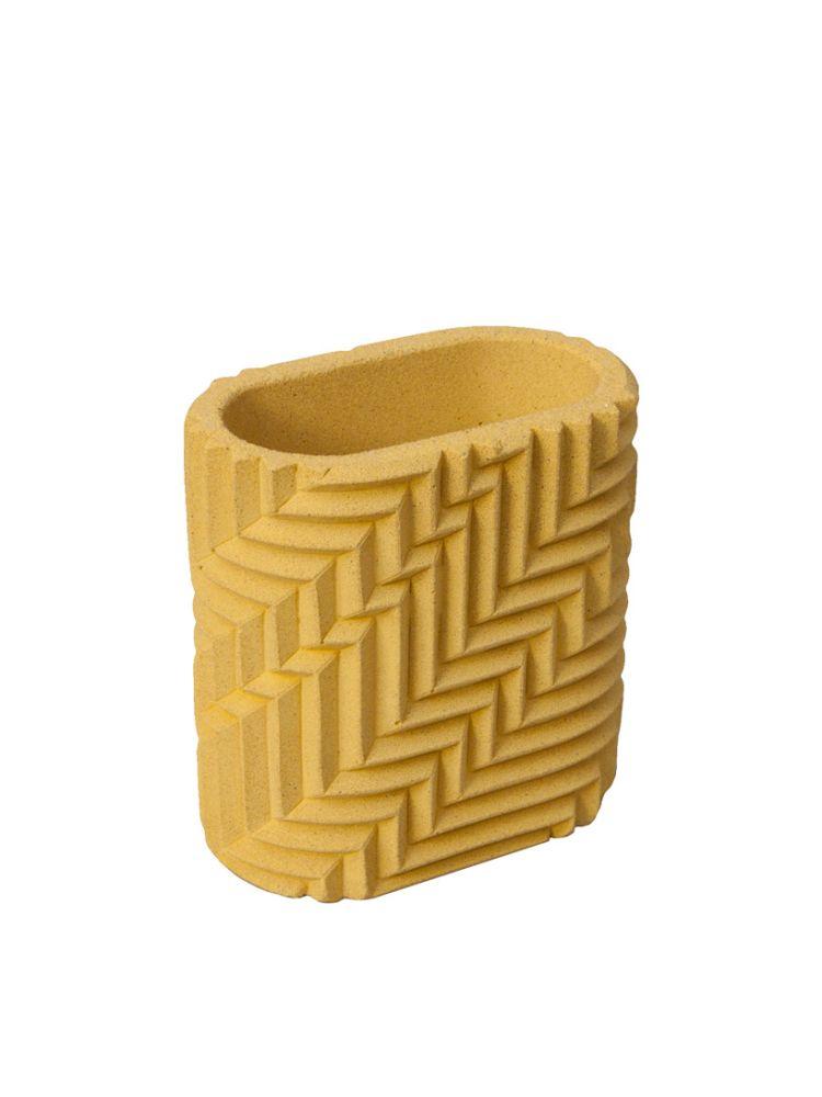 Herringbone Pen Pot - Yellow,Phil Cuttance,Decorative Accessories,beige,yellow