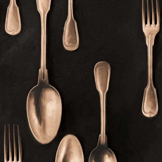 Cutlery Copper Wallpaper by Mind The Gap