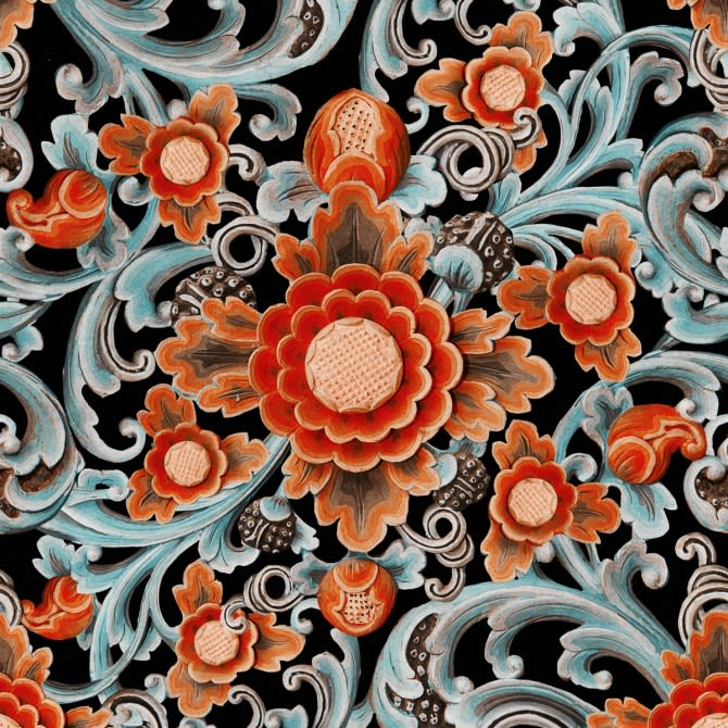 Mind The Gap,Wallpapers,art,design,floral design,illustration,orange,pattern,textile,visual arts