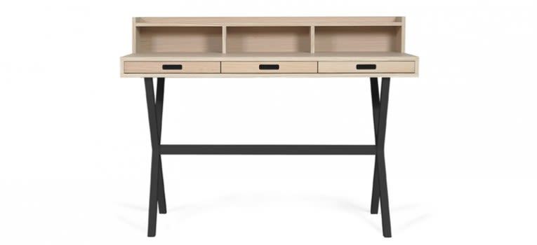 Slate Grey, Natural Oak,HARTÔ,Office Tables & Desks,computer desk,desk,furniture,hutch,secretary desk,table,writing desk