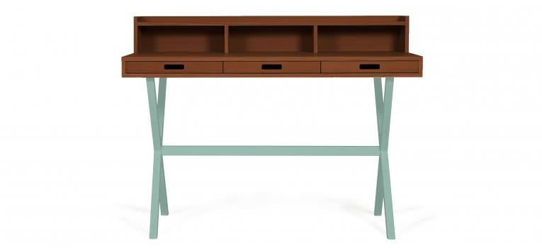Petrol Blue, Natural Walnut,HARTÔ,Office Tables & Desks,computer desk,desk,furniture,hutch,secretary desk,table,writing desk