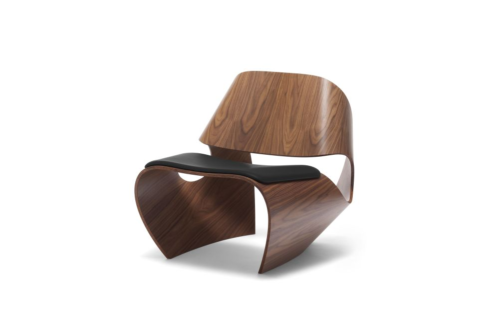 Walnut with Leather Seat Pad,Made in Ratio,Lounge Chairs,brown,chair,furniture,wood