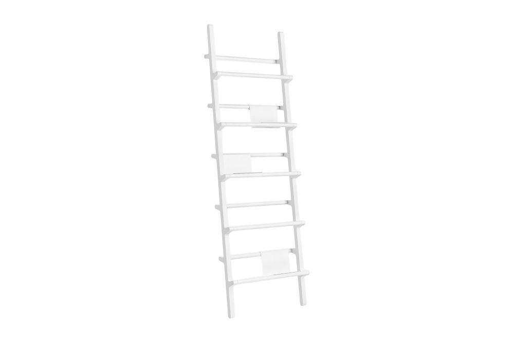 White Lacquered Ash,Hem,Bookcases & Shelves,furniture,ladder