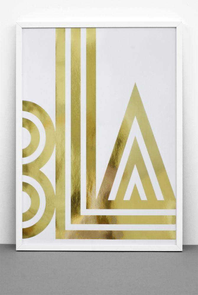 Gold Foil BLA / SMALL TALK print,One Must Dash,Prints & Artwork,font,triangle,yellow